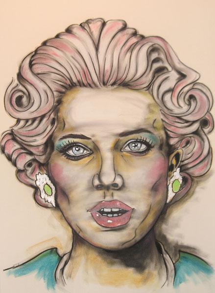 Title THE GOOD WIFE Medium mixed media on canvas, charcoal chalk acrylics Size 100 x 70 x 4 cm