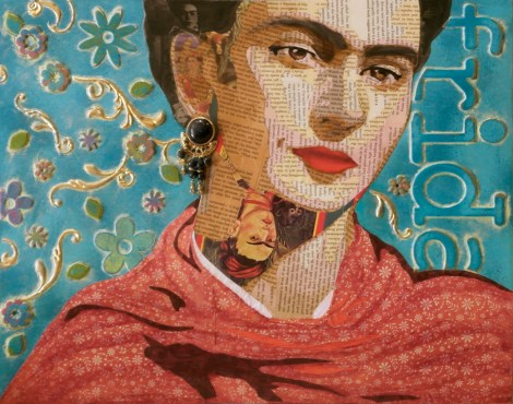 """TitleFrida Reappropriated   MediumMixed Media Collage   Size20"""" x 16"""""""