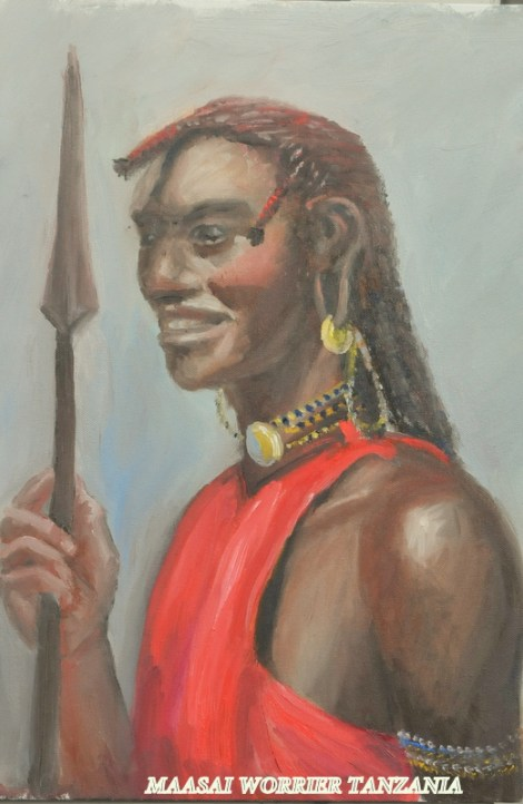TitleMaasaii Warrior. Kenya   Medium	oil   Size	24x16