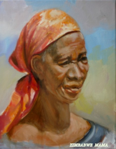 TitleZimbabwe Mama   Medium	oil   Size	20x16