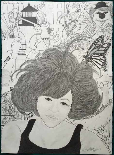"""TitleWithin the Selfie   MediumPencil and charcoal on watercolor paper   Size22"""" x 30"""""""