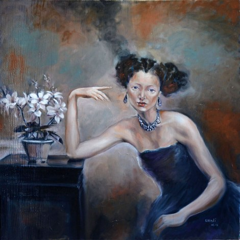 "TitleLady in Blue   Medium	oil on canvas   Size	36""X36"""