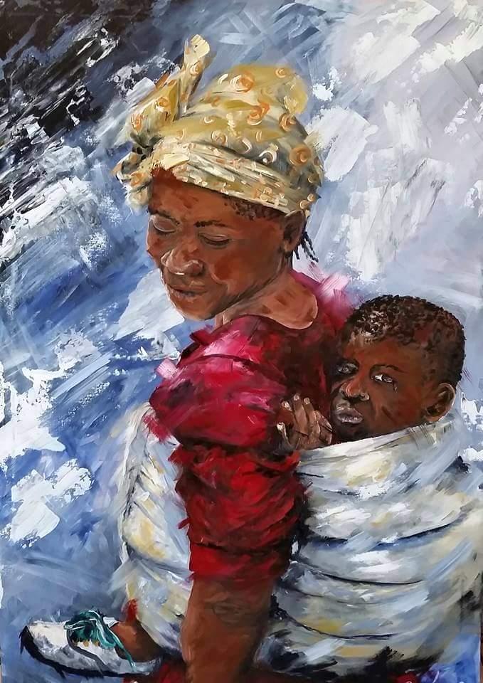 Title a mothers love Medium Acrylic Size 1000x750