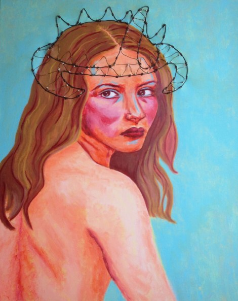 "TitleThe Sleeping Beauty   MediumAcrylic, wire and string   Size24"" x 30"""