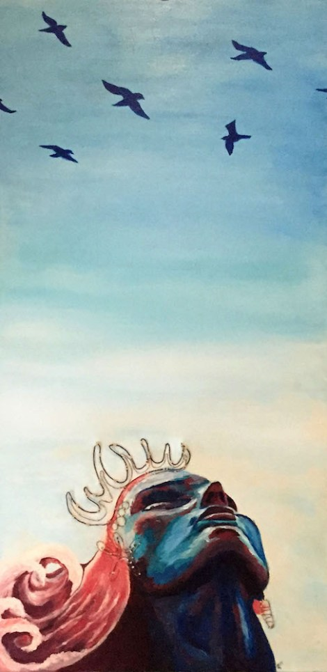 "TitleThe Mermaid   MediumAcrylic, wire and string   Size20"" x 40"""