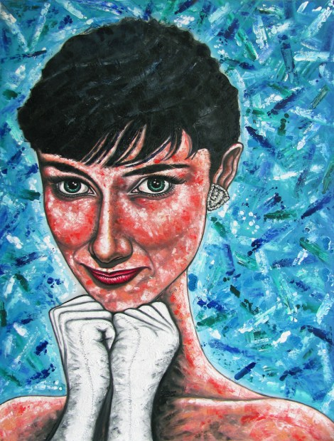 """Title""""Audrey, Larger Than Life""""   Medium Oil & ink on wood   Size36"""" x 48"""""""