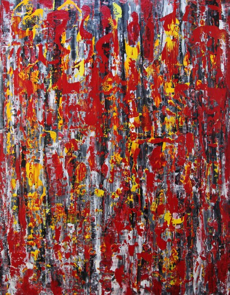 "Title:The center of Love Medium:	Mixed Media on canvas Size:	48""x60""x1.5"""
