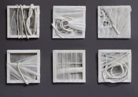 Title:Disclosed Medium:	wooden slats, non-woven fabric, fishing line, steel wire Size:	(6x)16,5x16,5cm