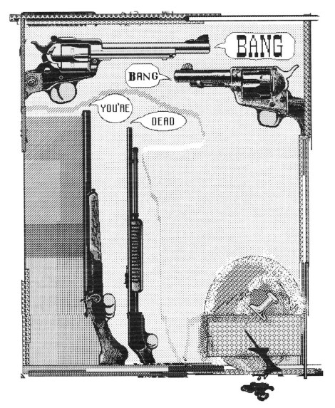 Title:Bang, Bang You're Dead Medium:	Digital Drawing Size:	12x16""