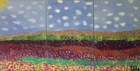 "Title:Triptych Garden of Flowers Medium:Acrylic on Canvas Size:72""x36"" (Triptych 36""x24"" each piece)"
