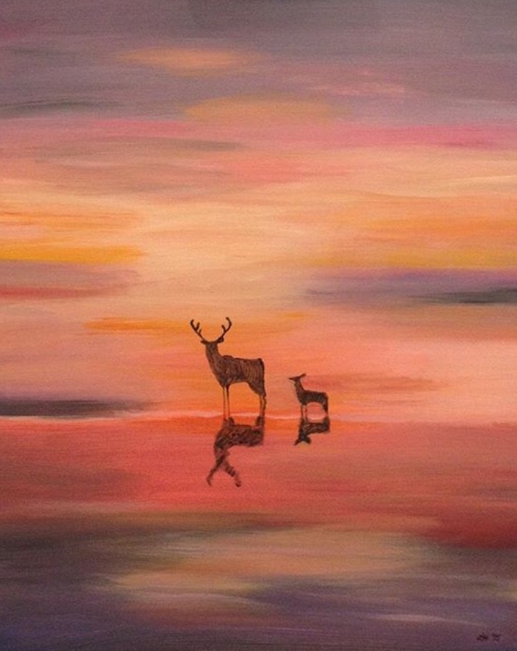 Title Deer at sunset Medium Acrylic Size 20 x 30