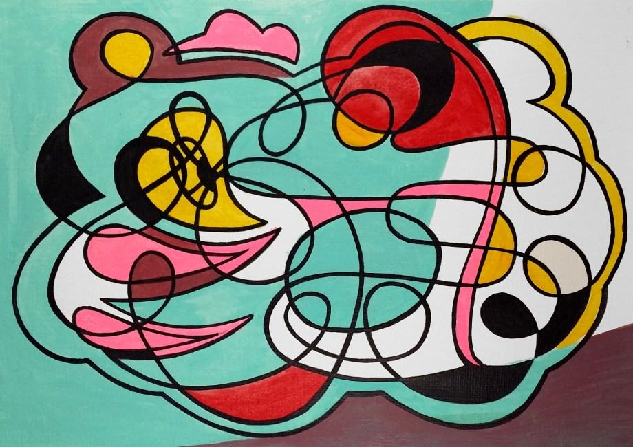 Title yellow heart Medium acrylic Size 20.5 x 15 cm