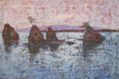 """Title:Untitled with rocks in bay Medium:Acrylic Size:20"""" x 30"""""""