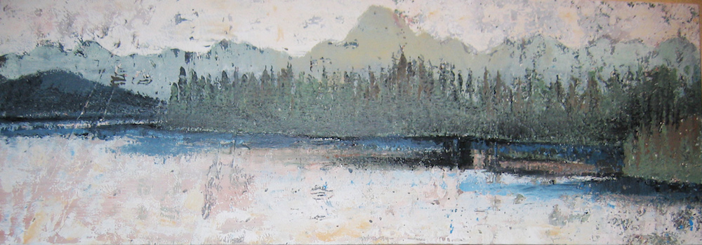 """Title: Untitled landscape with lake Medium: Acrylic Size: 14"""" x 40"""""""