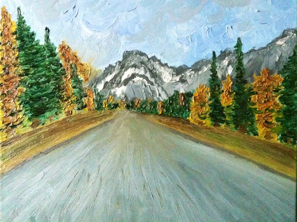 Title: Road in alps Medium: Oil on canvas Size: 40 x 50 cm