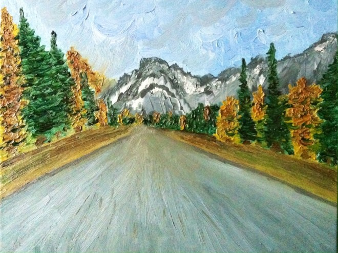 Title:Road in alps Medium:Oil on canvas Size:40 x 50 cm