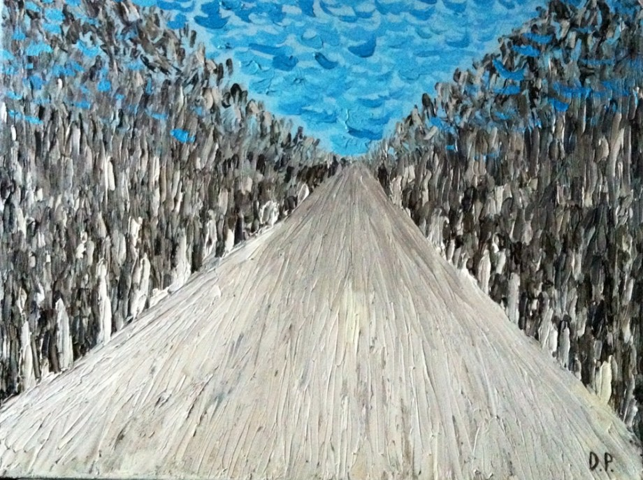 Title:Winter road Medium:	Oil on canvas Size:	40 x 50 cm