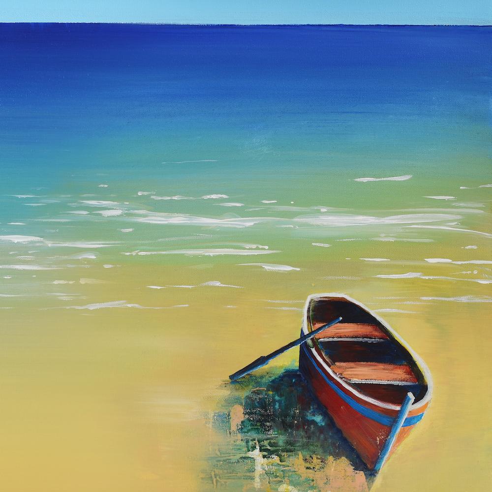 "Title: Fishing Boat On A Beach Medium: Acrylic Size: 16"" x 16"""