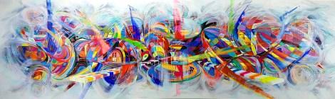 Title:LOVE Medium:Acrylic on canvas Size:100x360 cm.