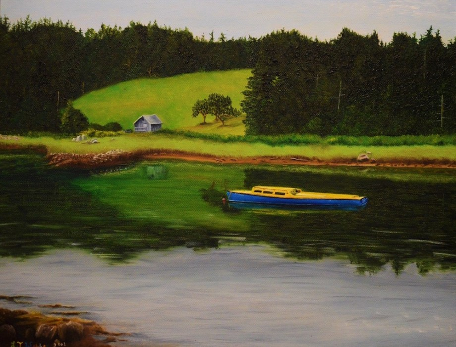 """Title BLUE AND YELLOW BOAT Medium OIL ON STRETCH CANVAS Size 14"""" X 18"""""""