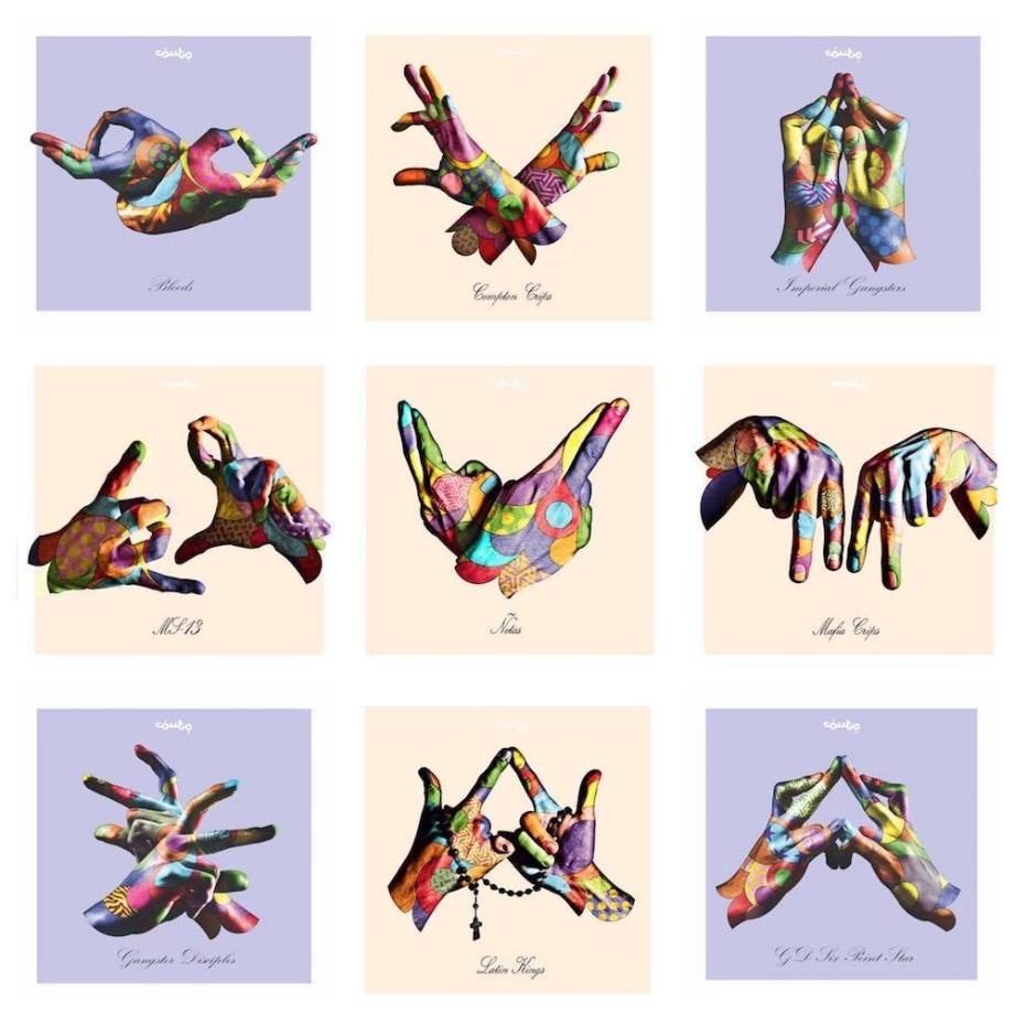 "Title:Gang Sign Series Medium:	Digital ink / Archival cotton paper Size:	16"" x 16"" (each)"
