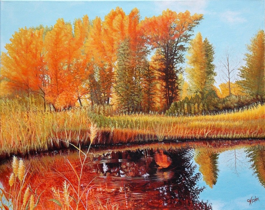 "Title:Autumn Pond Medium:Acrylic Size:24"" x 30"""