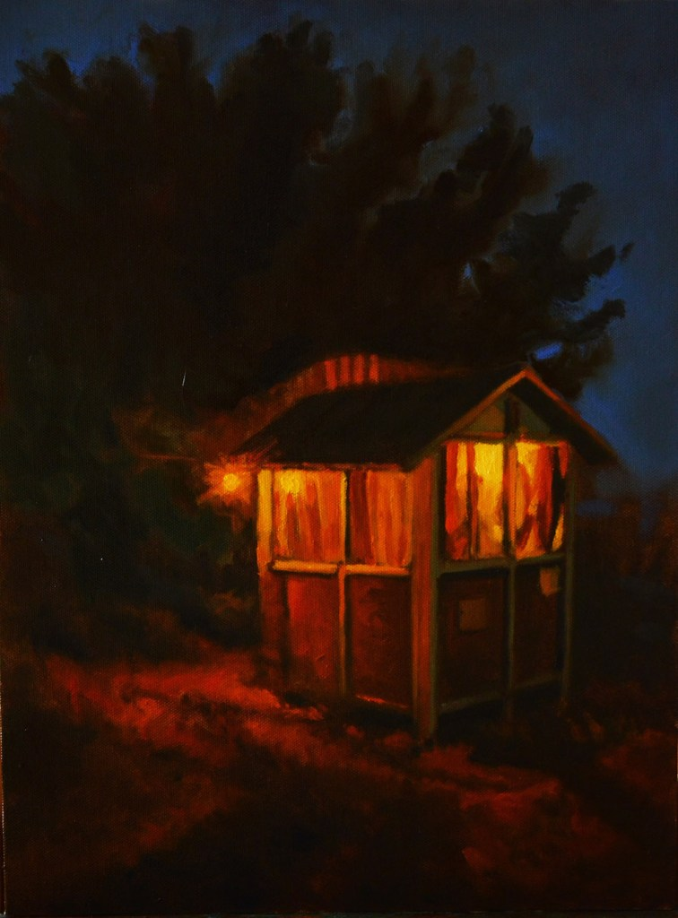 Title:Cottage Gleam Medium:	Oil on Board Size:	12 X 16 inches