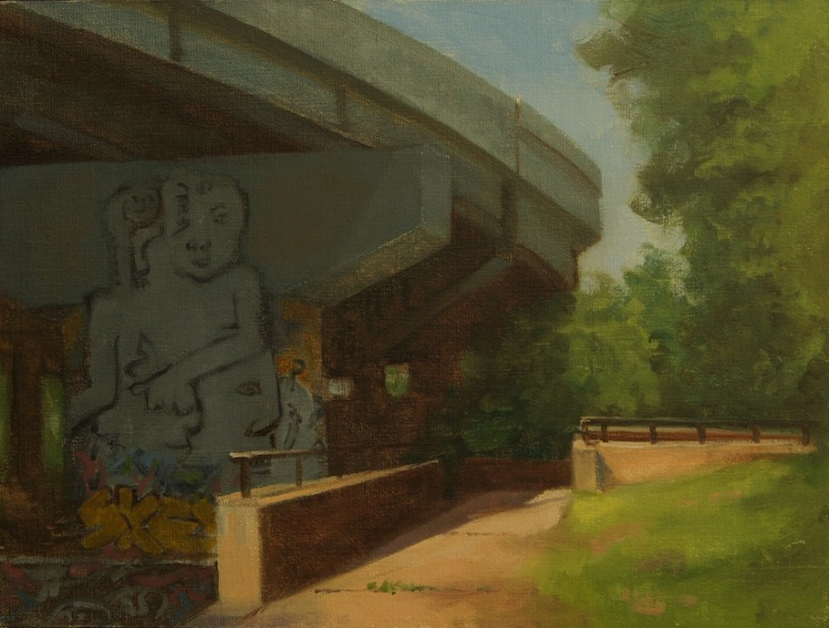 "Title:Under the Overpass Medium:	oil Size:	"" x 12"""