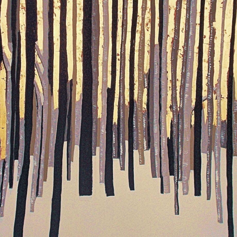 Title: Winter Gold Medium: Acrylic, 23k goldleaf Size: 36x30