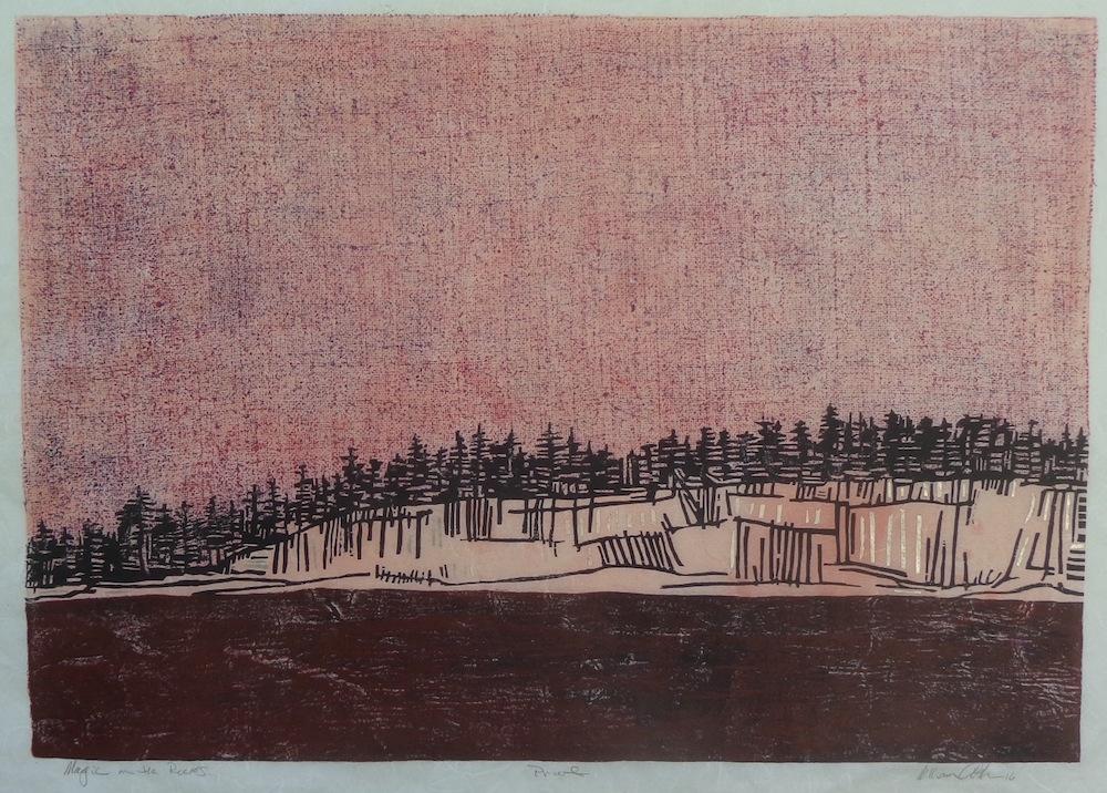 "Title: Magic on the Rocks Medium: Wood Block Print Size: 23"" x 32 1/4"""