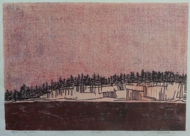 "Title:Magic on the Rocks Medium:Wood Block Print Size:23"" x 32 1/4"""