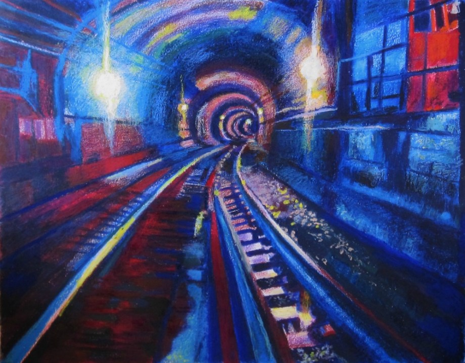 "Title:The NYC 2nd Ave Subway Medium:	colored pencils, wax art bars & oil pastels Size:	21.5"" X 23"""