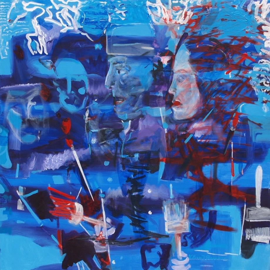 Title:Escape in the night Medium:Acrylic on canvas Size:100 x 100 x 2 cm