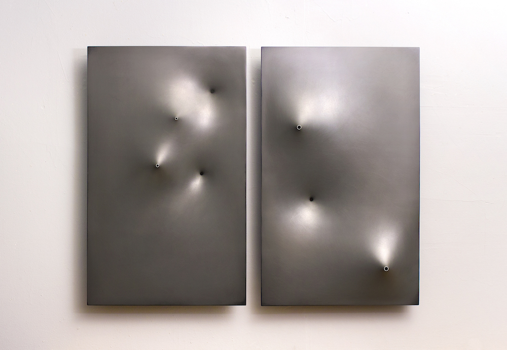 "Title: Pleiades Medium: Molded ABS plastic and laquer Size: 25"" x 32"""