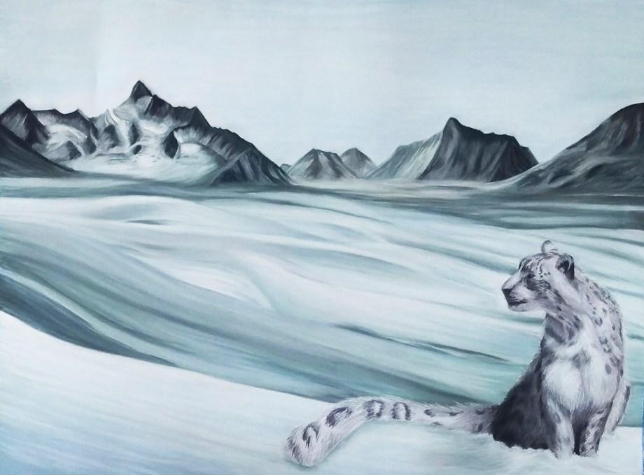 "Title:Snow Leopard Medium:Soft Pastel Size:48""x72"""
