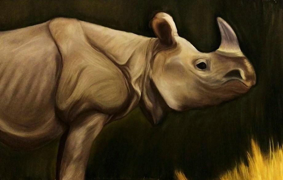 "Title: Javan Rhino Medium: Soft Pastel Size: 36""x48"""