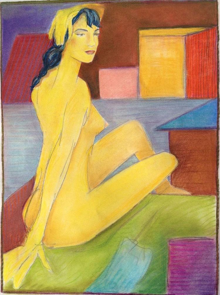 "Title:Golden Lady Medium:Pastel Size:16x21"""