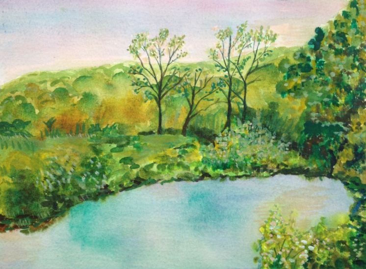Title:Virginia Country Medium:	Watercolor Size:	5 x 7""