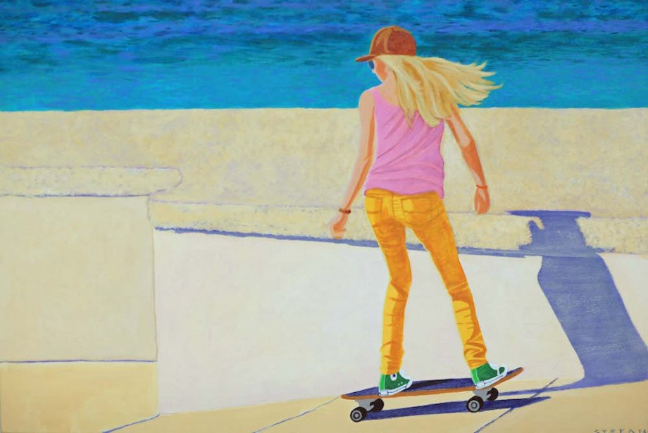 "Title:Pacific Skater Medium:	Acrylic Size:	24"" x 36"""