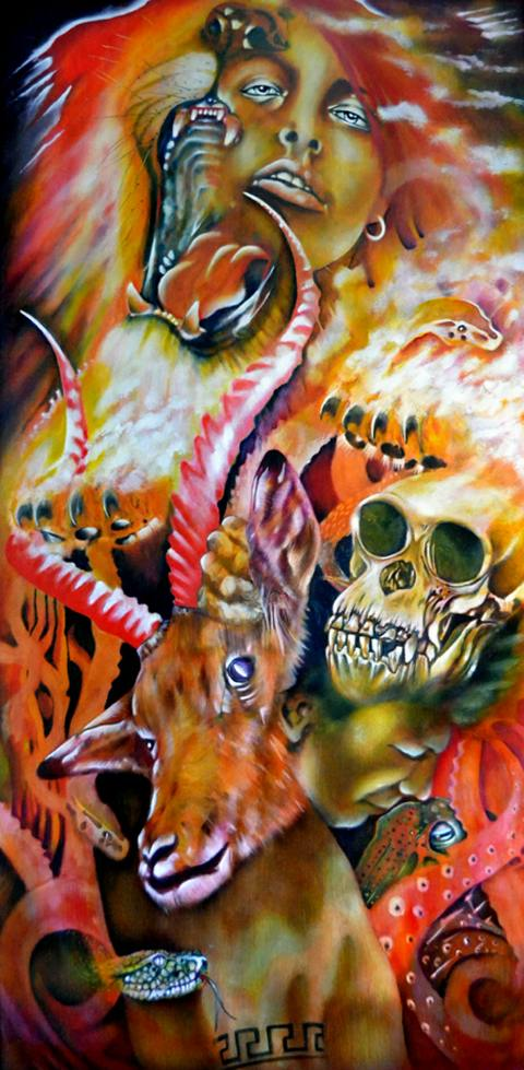Title:Atavistic Medium:Oil on wood Size:48 inches by 24 inches