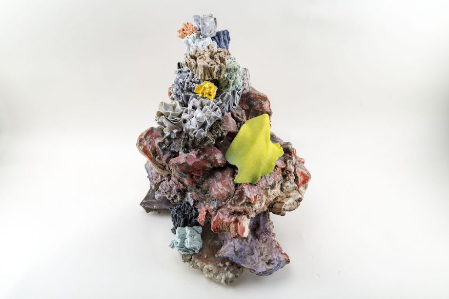 Title:Floral Conglomerate Medium:	ceramic materials & flock Size:	20 x 17 x 7 inches