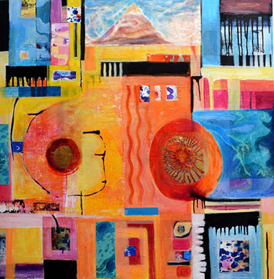 "Title:Sacred Mountain Medium:Mixed media on canvas Size:30""x30"""