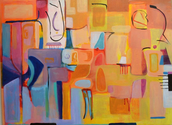 "Title:Color Abstract 2 Medium:	Acrylic on canvas Size:	30""x40"""