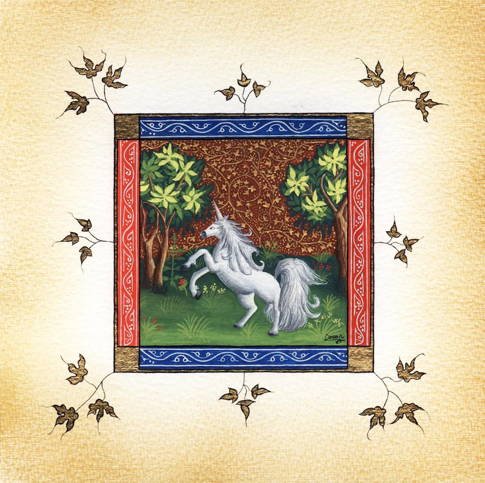 """Title: Unicorn Medium: Illuminated text Size: 6.6"""" x 6.6"""""""