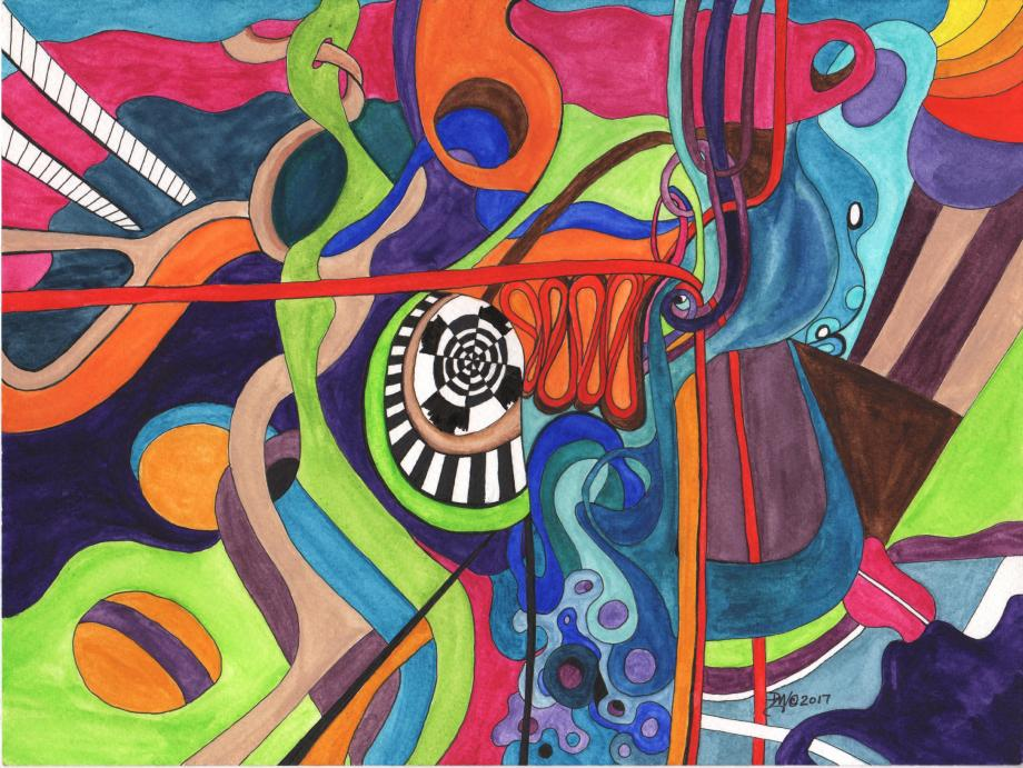 Title:Winding Through Medium:Watercolor and mixed media on paper Size:9 x 12