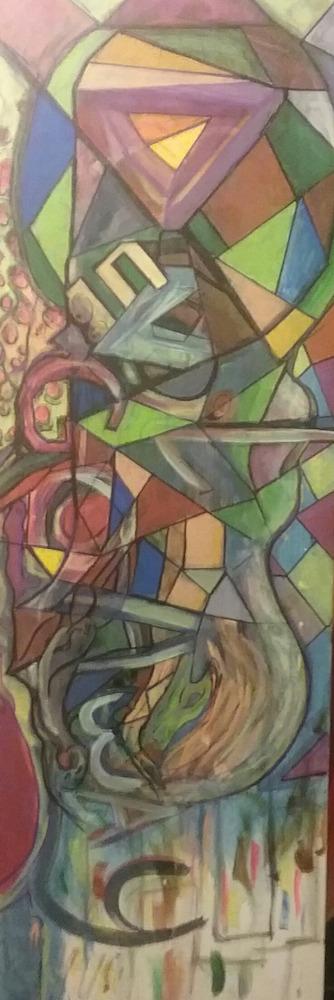 "Title:Devil go Away Medium:Acrylic on canvas Size:36""x12"""