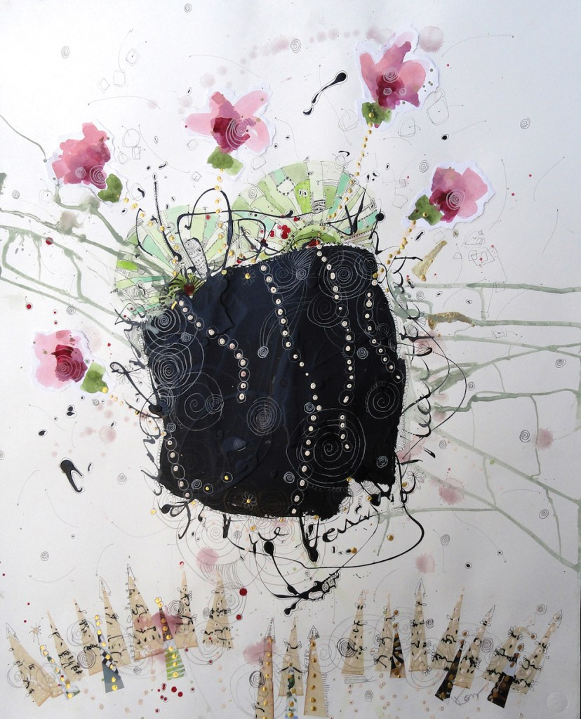 Title:Dances With Flowers Medium:mixed media Size:30x22