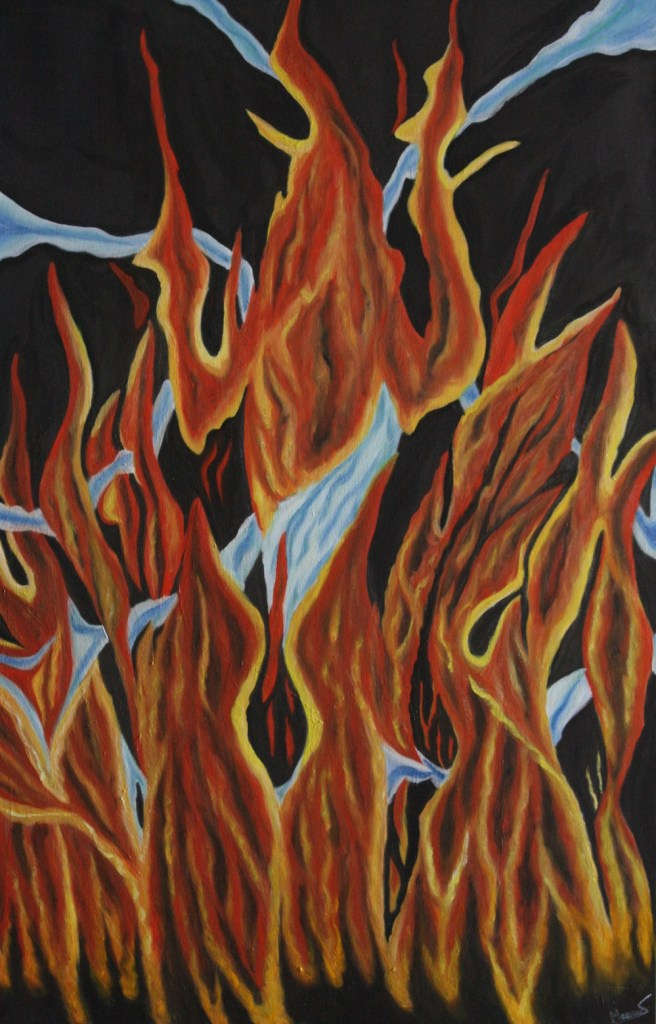 Title:Feminity on Pyre Medium:Oil on Canvas Size:48x36x1.5