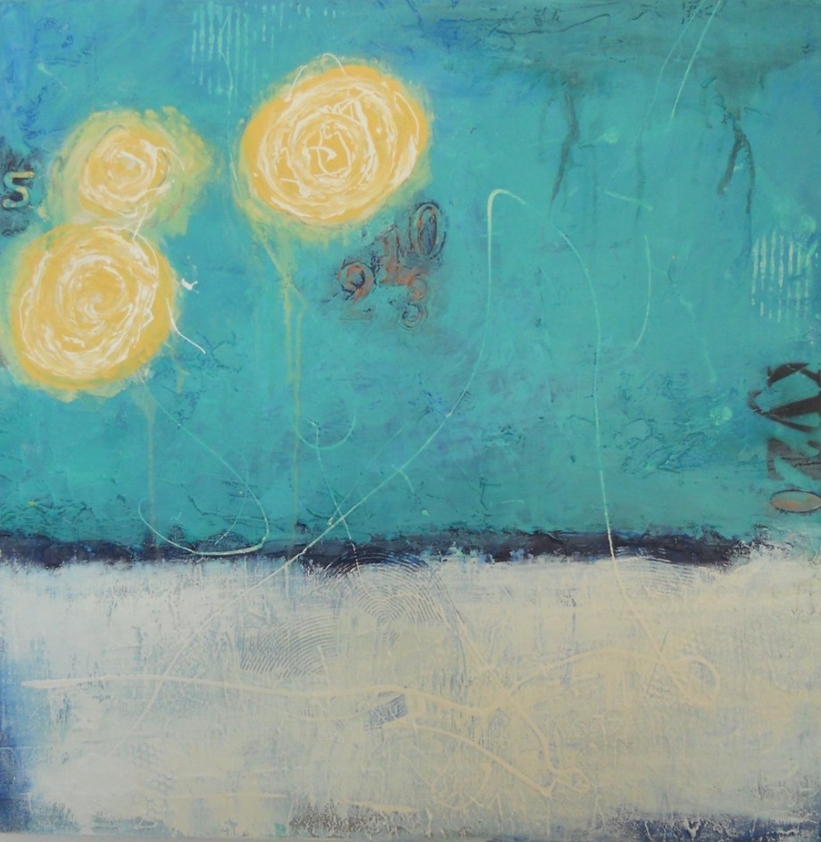 "Title:Three Moons Medium:Acrylic, impasto Size:24""x24""x1.5"" on canvas"