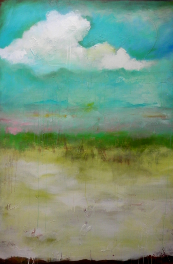 "Title:'Where the Sky Meets the Earth' Medium:	acrylic on canvas Size:	48"" x 60"""